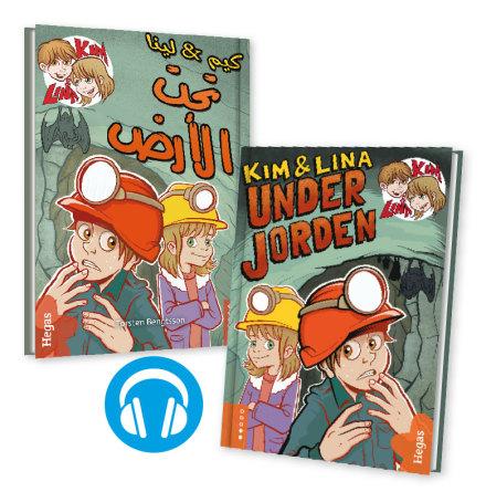 Tvillingpaket: Kim & Lina under jorden / svenska+arabiska (Bok+CD)